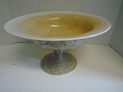 Large Pedestal Decorative Glass Bowl Brown Cream French Country Hand Blown