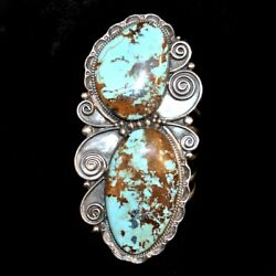 Huge Sterling Silver And Royston Turquoise Bracelet By Bobby Lujan Of Taos Pueblo