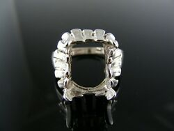 5417 Ring Setting Sterling Silver Size 8.5 12x10 Mm Emerald Stone