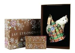 Jay Strongwater Amazing Palace And Polar Bear Glass Christmas Ornament New Box