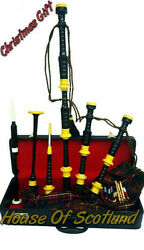 Great Scottish Bagpipe Yellow Mounts With Hard Case Tutor Book Chanters/bagpipes