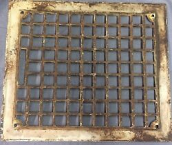Antique Cast Iron Grill Grate Wall Ceiling Arts Crafts Vent Old Vtg 12x10 28-17b