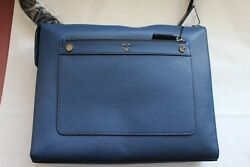 NEW MCM Marcus  Messenger Large Bag NAVY BLUE LEATHER $498.95