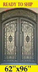 FRONT ENTRY DOUBLE IRON DOORS WITH TEMPERED GLASS 62''X96'' DGDA1027