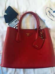 BN Authentic Prada Saffiano Cuir Double Red Bag