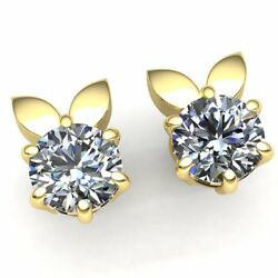 Natural 1ct Round Cut Diamond Ladies For Her Solitaire Stud Earrings 18k Gold