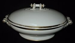 Antique Haviland Limoges Cable Covered Serving Bowl W/lid And 2-handles Ca 1880's