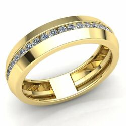 Natural 5ctw Round Cut Diamond Mens Grooved Anniversary Wedding Band 14k Gold