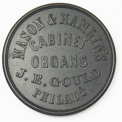 1900and039s - Mason And Hamlinand039s Cabinet Organs/steck Pianos - Hard Rubber Unc. Token