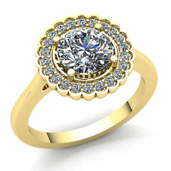3ct Round Cut Diamond Ladies Floral Halo Solitaire Engagement Ring 18K Gold
