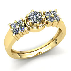 Genuine 0.75ct Round Diamond Mens Halo 6prong Solitaire Engagement Ring 14k Gold