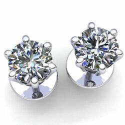 Natural 1carat Round Cut Diamond Ladies Casual Solitaire Stud Earrings 18k Gold
