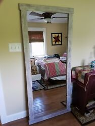 Leaning Wall Mirror Custom Made Usa Milk Painted Full Size Rustic Primitive Farm
