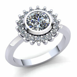 3.00ct Round Cut Diamond Ladies Floral Halo Solitaire Engagement Ring 18K Gold