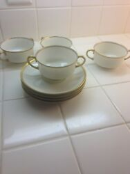 Vintage Limoges Bone China Bouillon Cups With Saucers, Set Of 4