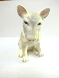 Bull Terrier Statue Figurine Grey Ceramic English Bully Dog Purebred Decor Dogs
