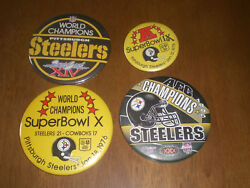 4 Steelers Super Bowl Pin Back Buttons Superbowl Ix - X - Xiv - Afc Champs 1995
