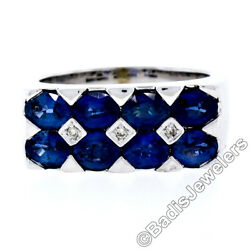 18k White Gold Large 4.03ctw Oval Cut Dual Row Sapphire And Diamond Wide Band Ring