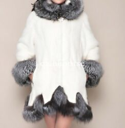 womens big fox fur collar mink fur thick mid long hooded parka overcoat outwear