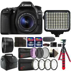 Canon Eos 80d Dslr With 18-55mm Lens 120 Led Light And Accessory Kit