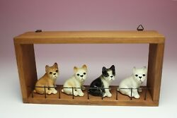 Set of 4 FRENCH BULLDOGS In Wall Cubby Miniature Porcelain Dog Figurine Japan