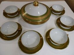 Limoges Laurel Leaves Gold Encrusted Green Band Cream Soup Cups And Bowl For 6