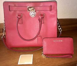 Michael Kors Hamilton Large Saffiano Leather Tote Satchel & Wallet Red NWOT