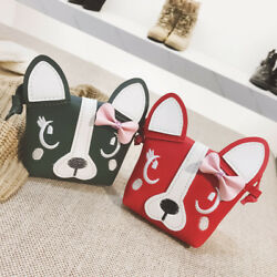Kids Purse Cute Puppy Cartoon Bags for Boys Girls Leather Messenger Bags Bow Dog