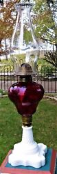 Antique Kerosene 2 Table Lamp Ruby Red Pear Font White Opaque Base Late 1800's