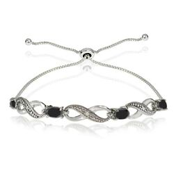 Sterling Silver Black Sapphire And Diamond Accent Infinity Adjustable Bracelet