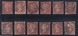 Great Britain Sc 3 Used. 1841 1p Red Set Of 12 Maltese Cross Numeral Cancels