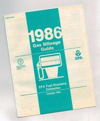 1986 Gas Mileage Guide By Epa Fuel Economy- Ford,chevy,pontiac,oldsmobile,buick