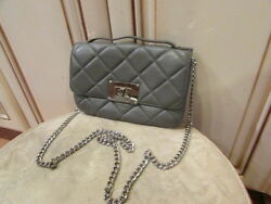nwt MICHAEL KORS  women's designer GRAY LEATHER MessengerShoulder bag