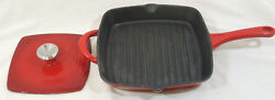 Red Enameled Cast Iron 11 Grill Pan And 8 Panini Press