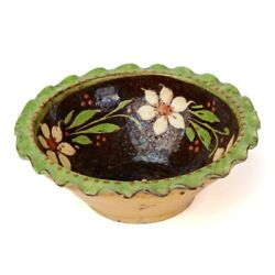 Antique Slipware Floral Decorated Pottery Bowl 19/20th C.