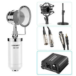 Neewer White Condenser Microphone with Desk Stand Cable 48V Phantom Power Supply