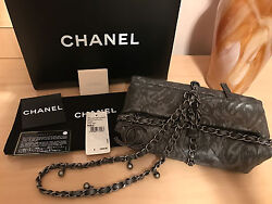 CHANEL GREY CALFSKIN BALUCHON RUNWAY CLUTCH Wristlet BAG CC LOGO Limited edition
