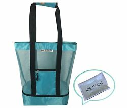 Tote Mesh Top Beach Bag with Waterproof Insulated Zipper Cooler Compartment and