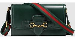 GUCCI Gorgeous Leather Italy Green Red Shoulder-Clutch-Bag Logo Stripe Horsebit