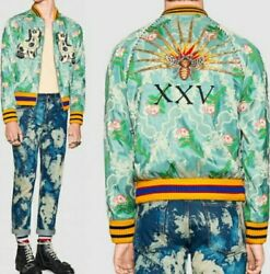 GUCCI Spaniel Dogs Cane Bee XXV Embroidery Floral Jacquard Quilted Bomber Jacket