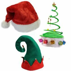 (Set Of 3) Plush Santa Hat Felt Elf Hat wBells Green Coil Christmas Tree Hat