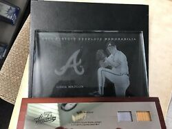 2003 Playoff Absolute GREG MADDUX GAME WORN Jersey amp; BAT ETCHED GLASS 098 100