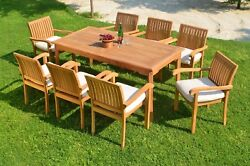 Napa A-grade Teak Wood 9pc Dining 71 Rectangle Table 8 Stacking Arm Chair Set