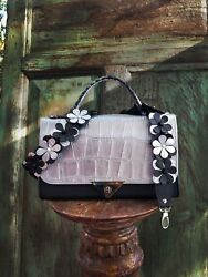 Emma Bag With Flower Studded Strap Silver