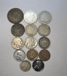 Vintage Us Coin 14 Pc. Large Indian Shield Buffalo Liberty Silver Barber Ac112
