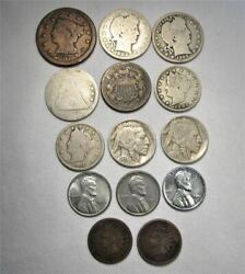 Vintage Us Coin Lot 14pc Large Indian Steel Liberty Buffalo Seated Slvr Brb C660