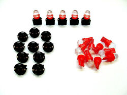 15 Red Domes Leds Lights Bulbs 1/2 Sockets Instrument Panel Dashboard Gm