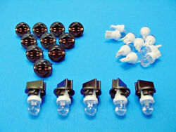 15 White Dome Leds Lights Bulbs 1/2 Sockets Instrument Panel Dashboard Ford