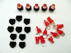15 Red Domes Leds Light Bulbs 1/2 Sockets Dash Instrument Panel For Imports