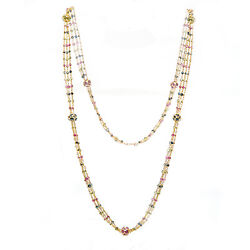18k Yellow Gold 10ct Multi-color Gemstone Beads Three Row Necklace 25 14.5 Gr
